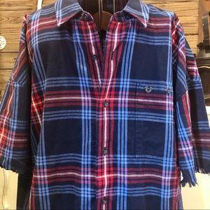 True Religion Dark Blue Plaid Shirt XL NWT